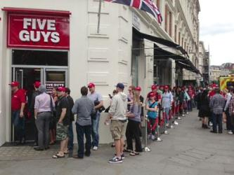 Five Guys opens with queues round the block. Reading is next.