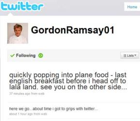 Gordon Ramsay's first tweet leaves followers cold