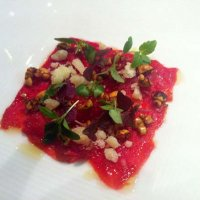 Vegetable carpaccio with D.O Idiazabal cheese shavings and vegetable splinters