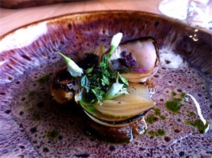 Prettiest thing on a plate - Burnt onions with gin and thyme at Story