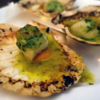 Charcoal-roasted scallops with white port and garlic