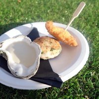 Crisp Dorset oyster, chicken caillette and shallot from Sixtyone