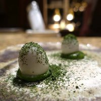 Smoked eel eggs with lovage