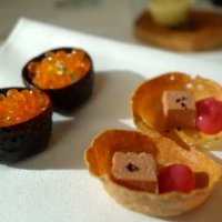 Trout roe and foie gras and rhubarb canapes