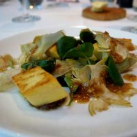 Panisse with artichokes, tapenae, watercress and walnut