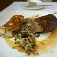 Lamb neck with miso glazed aubegine, quinoa, yoghurt, preserved lemon and jus gras