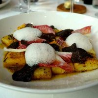 Delica pumpkin gnocchi with black truffle butter, Parmesan and red endive
