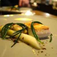 Halibut with white asparagus and Cornish mussels