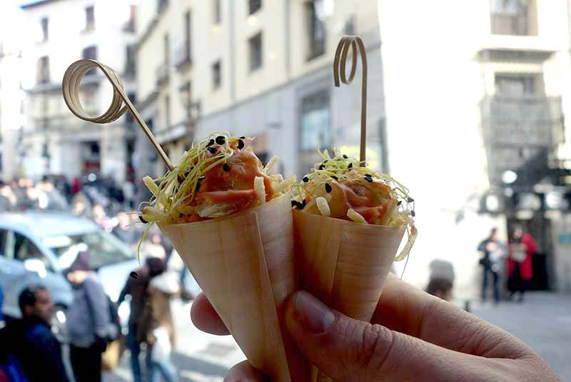 Mini crab cones at Mercado de San Miguel