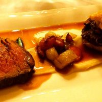 Beef and oxtail with root veg, celeriac puree and wild garlic