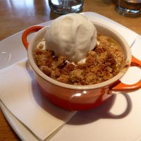 Rhubarb crumble at the Bison Grill on Rhug Estate