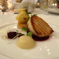 Scallops with beetroot, cauliflower and smoke