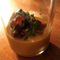 Pumpkin Pannacotta with truffled cream and smoked mushrooms by Steve Wilson from Forest