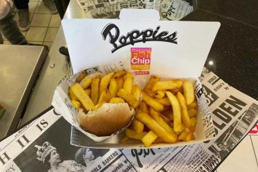 Poppies Spitalfields is back doing chip butties and battered sausages