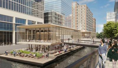 Hawksmoor Wood Wharf is their Canary Wharf restaurant - floating on the river