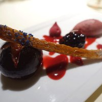 Roasted black fig, blackberries and port ice cream