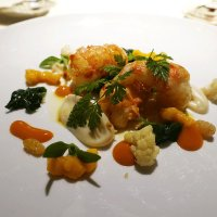 Scottish langousines, cauliflower, apiced mango chutney, jasmine raisins