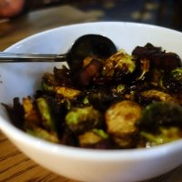 Blackened sprouts with bacon and sour cherries