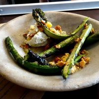 Asparagus, fresh cheese, preserved lemon and toasted almonds
