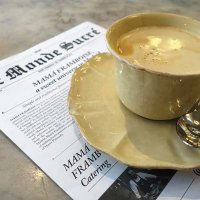 Morning coffee and dessert newspaper at Mama Framboise