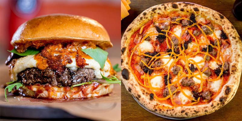 Pizza and burgers finally together at last, as Yard Sale meet Patty & Bun