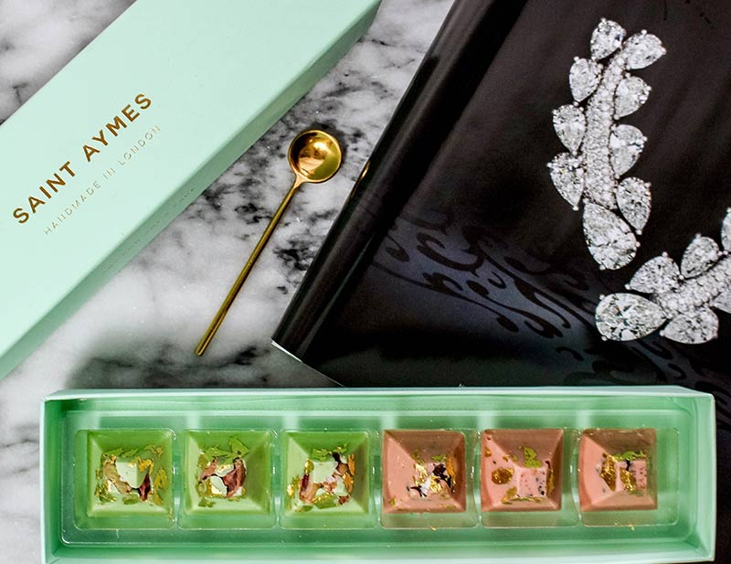 Gold-plated chocolates at Saint Ayme's first boutique cafe in Bayswater