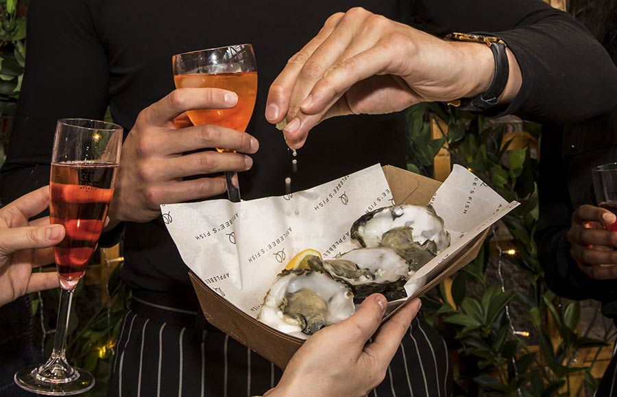 Applebees Fish pop up on the South Bank for Champagne, oysters, fish and chips