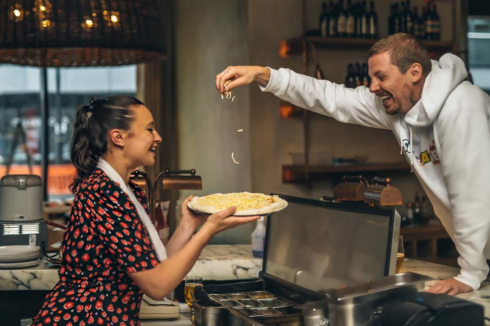Gizzi Erskine and Professor Green pop up in real life at Passo for Giz & Green