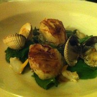 Scallops with lardo at the Kingham Plough