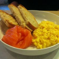 Scrambled eggs with smoked salmon at Daylesford
