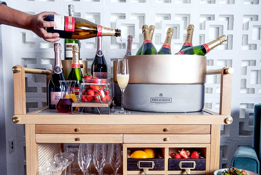 Bottomless champagne trolley at Barboun